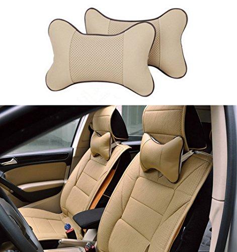 - Icegirl 2pcs Universal Leather Car Seat Pillow Breathable Car Auto Head Neck Rest Cushion Headrest Pillow Pad (Beige)
