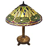 Green and Yellow Dragonfly Tiffany Style Table Lamp