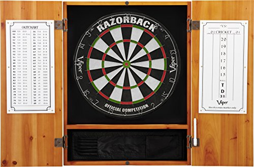 Viper Metropolitan Sisal/Bristle Steel Tip Dartboard & Cabinet Bundle: Premium Set (Razorback Dartboard and Darts), Oak (Oak Set Cabinet)