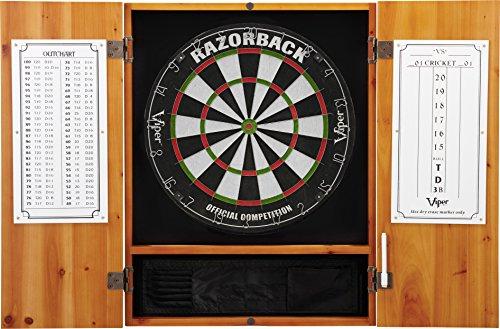 Viper Metropolitan Solid Wood Cabinet & Sisal/Bristle Dartboard Ready-to-Play Bundle: Premium Set (Razorback Dartboard and Darts), Oak Finish