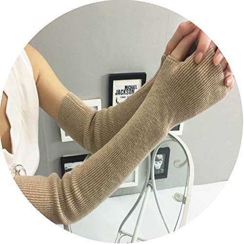Winter Gloves Women Arm Warmers CashmereMittens Elbow Thread Knitted Sleeve Glove Driving Gloves,Camel