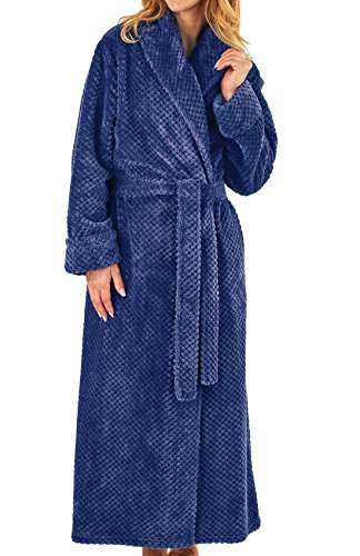 21bc714765cb Slenderella Womens Waffle Fleece Dressing Gown Ladies Super Soft Wrap Bath  Robe Large (Navy)