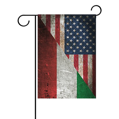 ALAZA Double Sided Italian American Friendship Combination A Memorial Day Polyester Garden Flag Banner 12 x 18 Inch for Outdoor Home Garden Flower Pot Decor]()