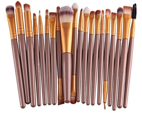 20pcs Eye Makeup Brushes Set Eyeshadow Blending Brush Powder Foundation Eyeshadading Eyebrow Lip Eyeliner Brush Cosmetic Tool (gold bars gold tube)