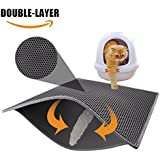 "Pieviev Cat Litter Box Mat,Litter Trapper of Large Size 30"" X 24"", Honeycomb Double-Layer Design, Waterproof Urine Proof Material, Easy Clean and Floor Carpet Protection (Light Grey)"