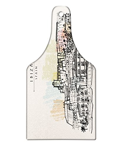 Lunarable Ibiza Cutting Board, Sketch Style Balearic Islands Spain Hand Drawn Historical Buildings and Boats Travel, Decorative Tempered Glass Cutting and Serving Board, Wine Bottle Shape, Multicolor by Lunarable