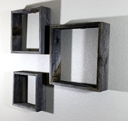 Amazon.com: Decorative Wooden Wall Shelves - Barnwood Open Box ...