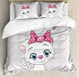 Kitten King Size Duvet Cover Set by Ambesonne, Cute Cartoon Domestic White Cat Pink Cheeks Fluffy I Love My Pet Themed Print, Decorative 3 Piece Bedding Set with 2 Pillow Shams, Grey White Pink