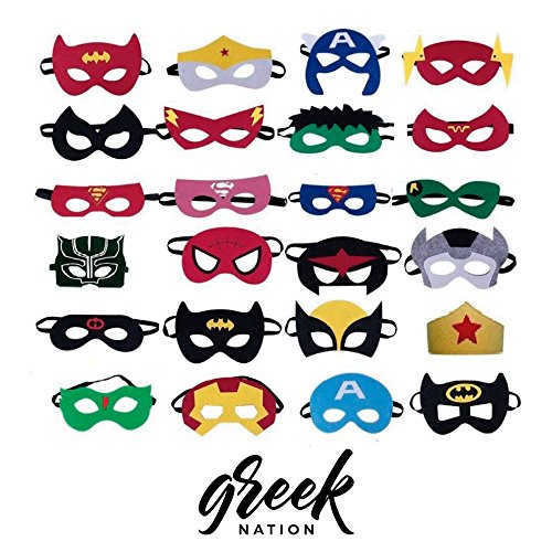 SuperHeroes Party Masks for Children - Cosplay Character Felt Mask for Happy Kids, Supplies 24 pcs Favors Characters , Birthdays, Toys and Games - By GreekNation