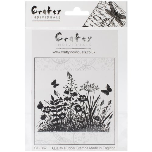 Crafty Individuals CI-367 Unmounted Rubber Stamp, Wild Flowers and Butterflies