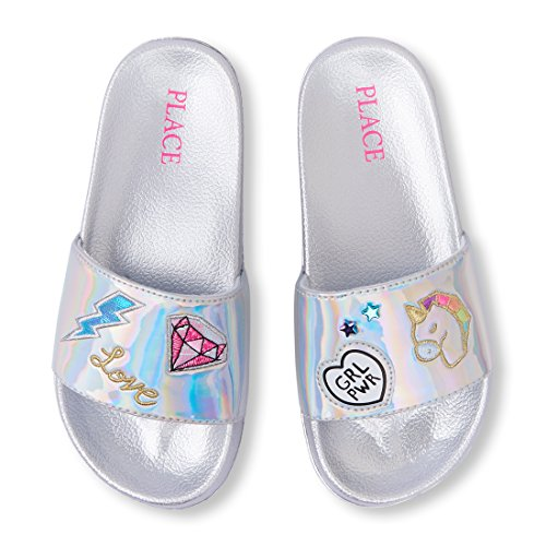 The Children's Place Kids' BG Patch Slides Flat Sandal