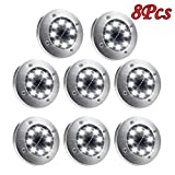 BB67 8Pcs Solar Light, Under Ground Lamp Stainless Steel, IP65 Waterproof In-Ground Light with 8 LED