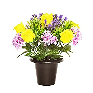 Floristrywarehouse Weighted Grave Pot Yellow Open Rose and Alliums 32