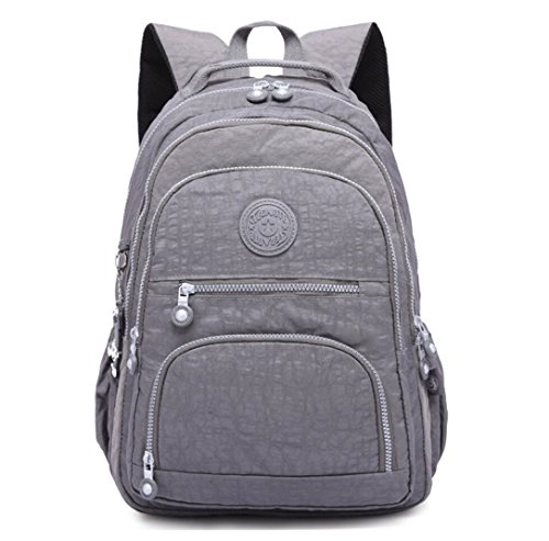 Nylon Casual Travel Daypack Lightweight Sports Laptop Backpack Purse for Women Waterproof Medium Work College School Bag for Girls (Grey) by Big Mango
