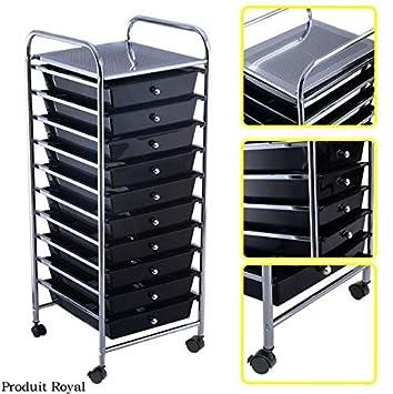 Produit Royal nuevo negro 10 cajones carrito almacenamiento organizador de papel de Recortes Craft Home de oficina escuela plástico cajón rack con bloqueo ...
