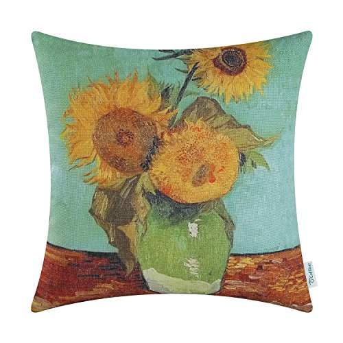 - CaliTime Canvas Throw Pillow Cover Case for Couch Sofa Home Decoration Famous Picture Print 18 X 18 inches Van Gogh Painting Three Sunflowers in A Vase