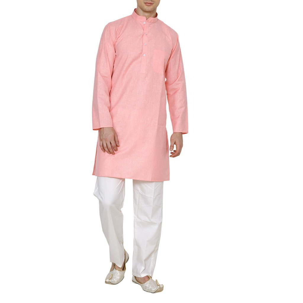 Royal Kurta Men's Linen Cotton Fine Kurta Pyjama Set 42 L-pink