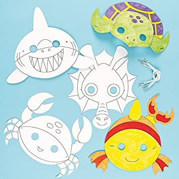 Baker Ross Sealife Animals Colour in Craft Masks for Children to ...