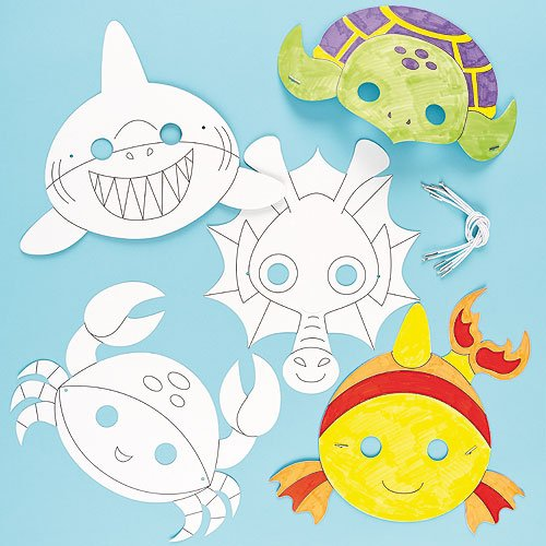 Sealife Animals Colour in Craft Masks for Children