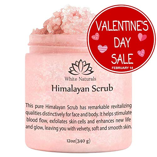 Pure Himalayan Pink Salt Scrub 12 oz By White Naturals:All Natural Body Exfoliator Scrub With Nourishing Vitamins,Exfoliate For Soft &Healthy Skin,Massaging Scrub For Sore Muscles
