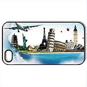 Traveling_around_the_World - Case Cover for iPhone 4 and 4s (Watercolor style, Black) by icecream design