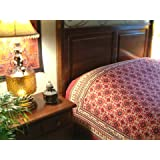 Ruby Kilim ~ Rustic Red Black Luxury Designer King Bedspread 108x90