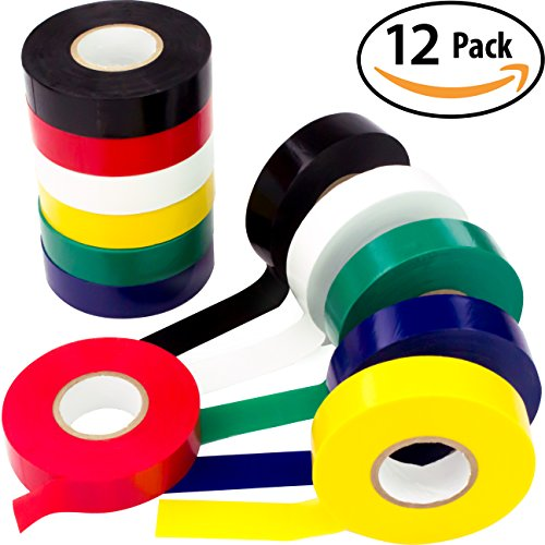 Weather-Resistant Colored Electrical Tape 60 Jumbo Roll 12 Pack by Nova Supply. Color Code Your Electric Wiring Safely with Indoor/Outdoor PVC Vinyl, UL Listed to 600V, for a Variety of (Red White Blue Decorating Ideas)