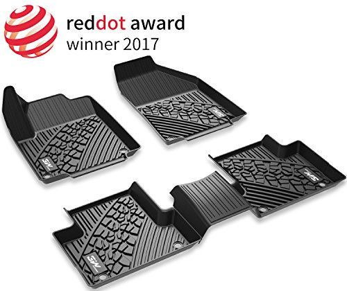 Floor Mats for Jeep Grand Cherokee (2016-2019) - 3W Heavy Duty Protection Custom Fit Floor Liners All Weather Odorless TPE Car Floor Carpet 1st & 2nd row, Black