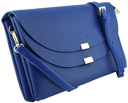 Amy&Joey three compartments double flap cross body handbags and clutch bags (ROYAL BLUE) (Blue Leather Handbags)