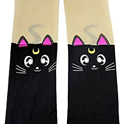 Anime Sailor Moon Luna Cat Cute Tight Printing Socks Cosplay Pantyhose Costume (Black)