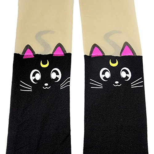 Luna Cat Sailor Moon Costume (Anime Sailor Moon Luna Cat Cute Tight Printing Socks Cosplay Pantyhose Costume (Black))