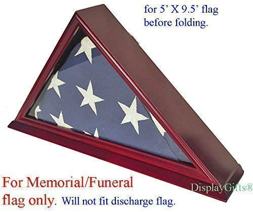 DisplayGifts-FC06-CH-Solid-Wood-Elegant-5-x-95-Flag-Display-Case-for-BurialFuneralVeteran-Flag-Cherry