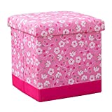 JYKJ Storage Stool Folding Stool Stool Footstool Bench Multifunctional Space-saving Home Clothes Square Storage Box (Color : Pink)