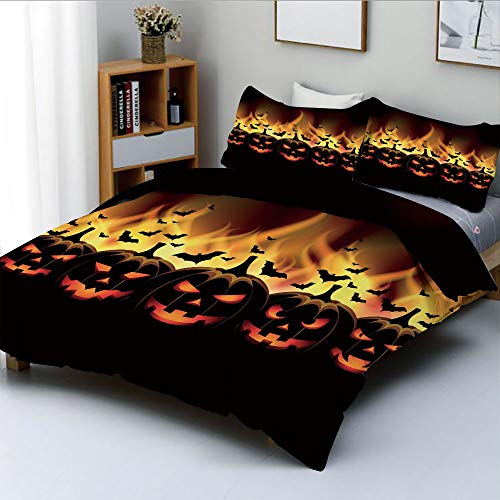 (Duplex Print Duvet Cover Set Full Size,Happy Halloween Image with Jack o Lanterns on Fire with Bats Holiday DecorativeDecorative 3 Piece Bedding Set with 2 Pillow Sham,Black Scarlet,Best Gift For)