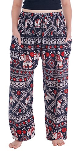 Lannaclothesdesign Women's Elephant Hippie Boho Yoga Harem Pants (XL, Black Red Elephant Stamp)