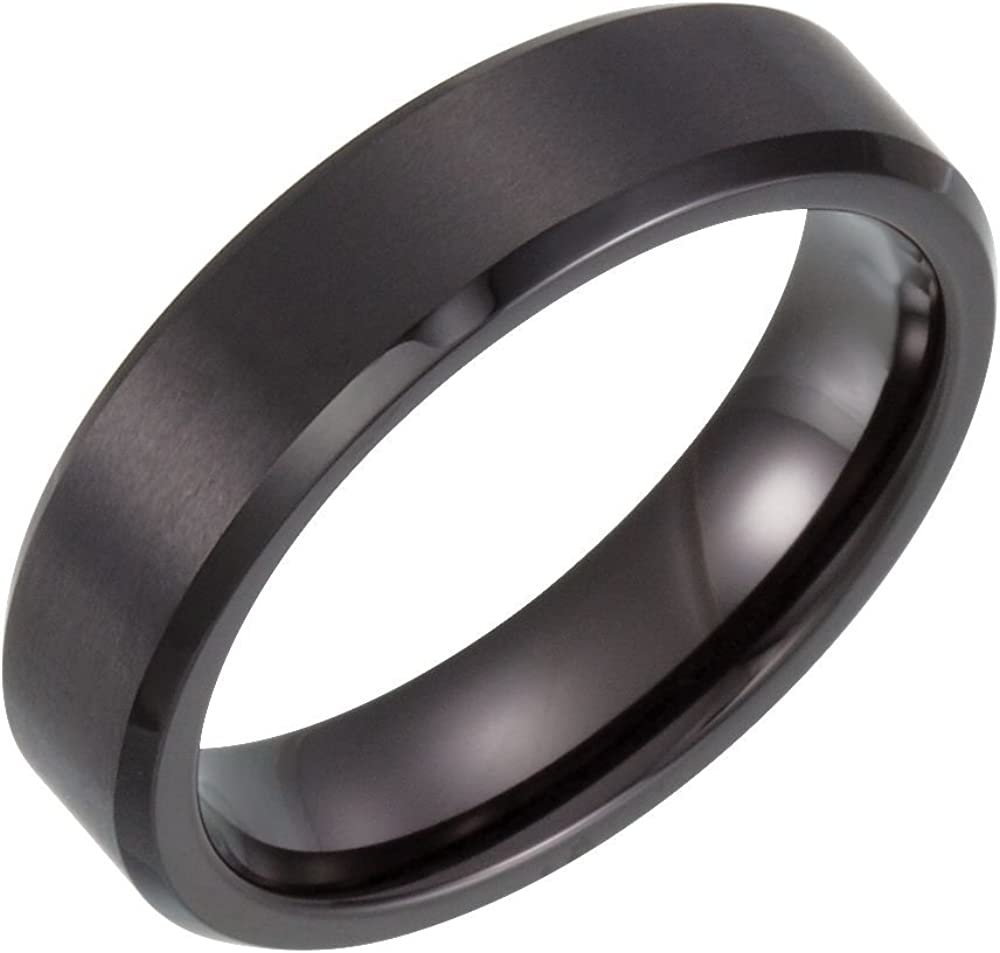 Security Jewelers White Tungsten 6mm Satin /& Polished Beveled Band Size 12 Ring Size 12