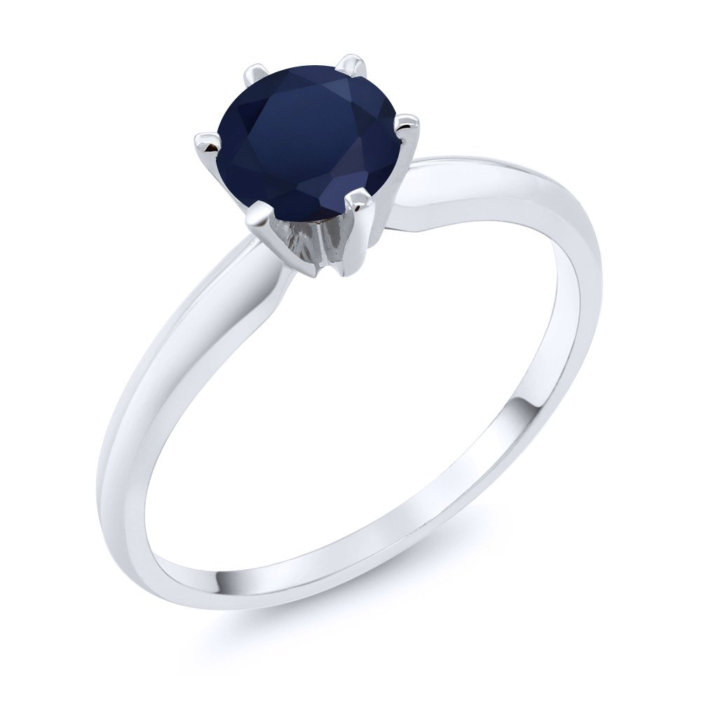 1.00 Ct Blue Sapphire 14K White Gold Engagement Solitaire Ring (Ring Size 6)