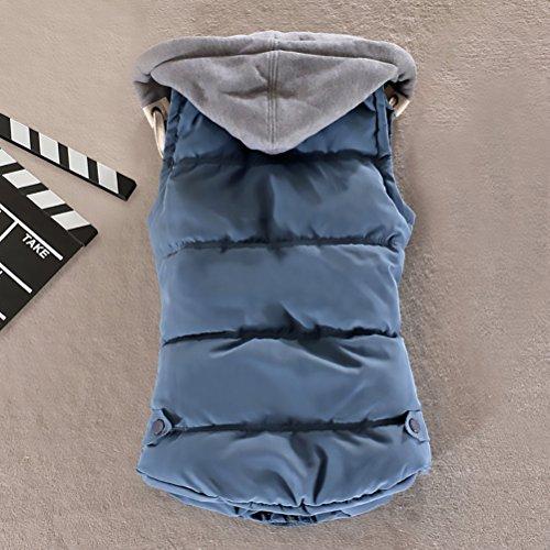 Warm Cappuccio Giacche Gilet Zip Slim Giacca Con Maniche Sportivo Single Casual Moda Cappotto Breasted Giubbotto Autunno Fit Donna Invernali Blu Senza qTwaII