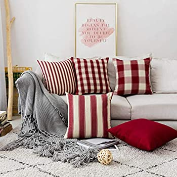 Home Brilliant Decorative Pillow Covers Red Christmas Throw Pillow Covers for Girl's Room Linen Textured Farmhouse Patterned Cushion Covers for Holiday, 18 x 18 inch(45cm), Crimson, Pack of 5