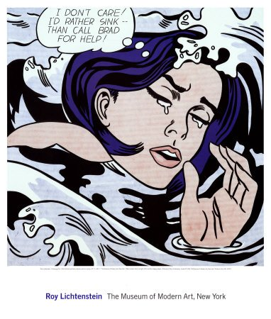Drowning Girl, Pop Art Poster Print by Roy Lichtenstein, (Overall Size: 26x23)  (Image Size: (Drowning Girl)