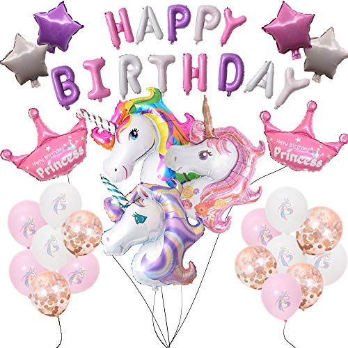 Unicorn Balloons Birthday Party Decoration Large Unicorn x3 Crown Balloon x2 plus Big Birthday Letter x13 Latex Balloons and Star Unicorn Party Set.All Festival Decorations 37pcs.All in Ánimo Balloon