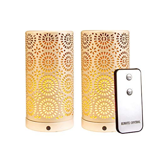 YMing LED Flame Effect Magnetic Candle Light Battery Operated - with Upside Down Effect - with Timer Function and Remote Control - White Table Lamps for Home/Hotel/Bar Party Decoration (2 Pack)