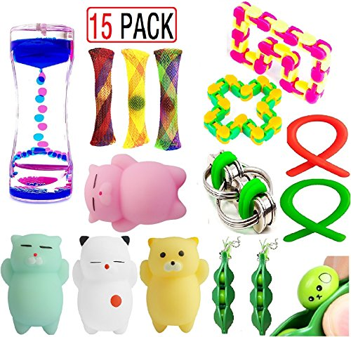 EDsportshouse Sensory Fidget Toys Bundle(15 Pack),Sensory Fidget and Squeeze Widget for Relaxing Therapy,Stress Relief Fidget Hand Toys for Kids Adults with ADHD ADD Anxiety Autism & More