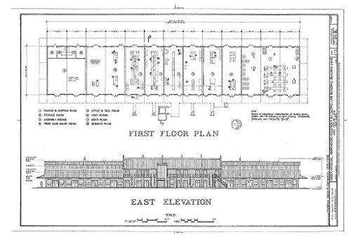 Historic Pictoric Blueprint Diagram HAER Utah,6-Lay.V,1BL- (Sheet 2 of 3) - Ogden Arsenal, Warehouse-Assembly & Loading Line Building, 6325 Poplar Lane, Layton, Davis County, UT 44in x 30in