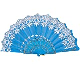 Coohole Chinese Classic Rose Pattern Folding Dance Wedding Party Lace Silk Folding Hand Held Flower Fan (Sky Blue 2)