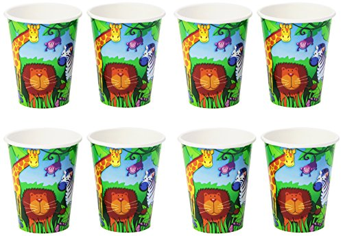 Amscan Wild Jungle Animals Themed Party Paper Cups Tableware (Pack Of 8), Multicolor, 9 oz
