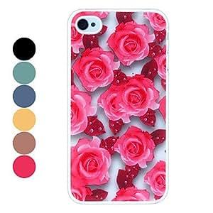 Elegant Roses Pattern Hard Case for iPhone 4/4S --- COLOR:Red