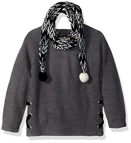 Limited Too Little Girls' Pullover Sweater (More Styles Available), Medium Heather Grey, 4