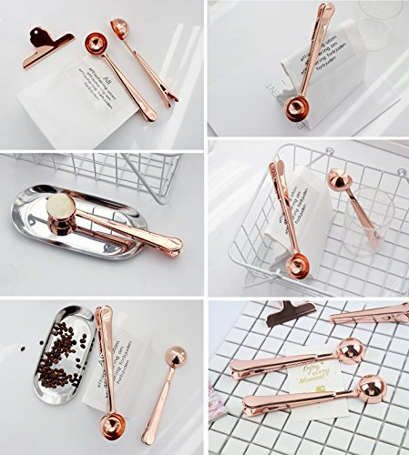 Coffee Measuring Spoon Sealing Clips, Two-in-one Long Handle Metal Scoops Bag Clips from Hoocozi, 2Pcs, Rose Gold, 1 Teaspoon by Hoocozi (Image #3)