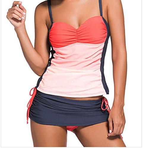 FQHOME Womens Orange Ombre Bandeau Tankini Grey Skort Set Size L